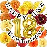Furuix Otoño 18º Cumpleaños Decoraciones/Borgoña Naranja Amarillo 18º Cumpleaños Decoración 18º Cumpleaños Cumpleaños Cumpleaños 18º Cumpleaños para Mujer/Deoraciones de Acción de...