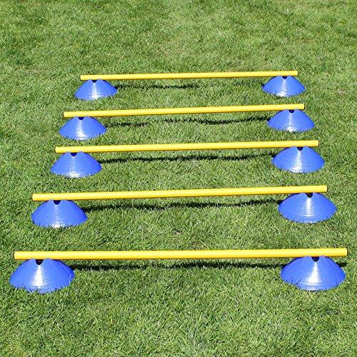 Mini-Hürden 5er Set, Blaue Markiermulden und gelbe Stangen 100 cm, für Agility-Training