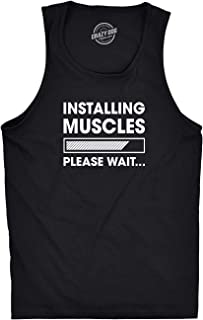 Crazy Dog T-Shirts Mens Fitness Tank Installing Muscles Please Wait Tanktop Funny Workout Tshirt