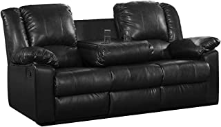 Milton Greens Stars Burgas Reclining Sofa with Drop-Down Cup Holder, Black