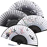 4 Pieces Folding Fans Handheld Fans Bamboo Fans with Tassel Women's Hollowed Bamboo Hand Holding Fans for Wall Decoration, Gifts (Gray Gradient, Pink Plum Blossom, Black Gradient, Pink Peach Blossom)