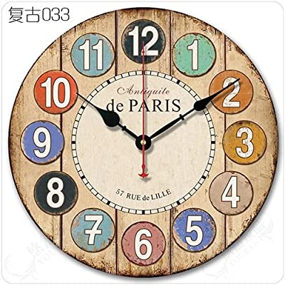 Y-Hui Wall Clock Living Room Mute Wall Clock Round Watches Red Colors In Table