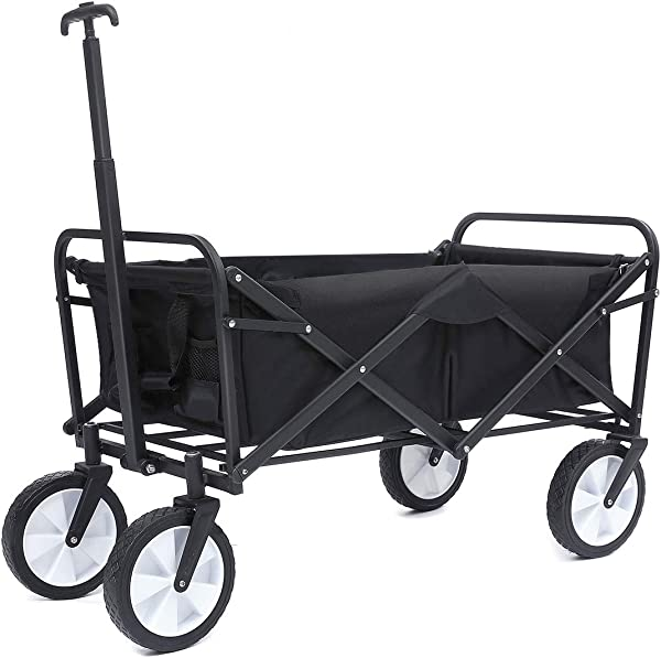TOOCA Foldable Beach Wagon Beach Cart Large Capacity Wheelbarrows Garden Cart Kids Pull Along Wagon Outdoor Indoor Heavy Duty For Kids Beach Barbecue Picnic Shopping With Oxford Basket