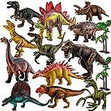 TOEY PLAY Figuras de Dinosaurios Juguetes, Realistas T-Rex, Velociraptor, Arboles, 12 Piezas Dinosaurio Grandes Juguete Niños Niñas 3 4 5 6 Años