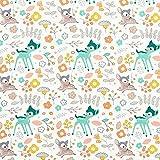 Baumwollpopeline Bambi im Blumenmeer – mintgrün/gelb —
