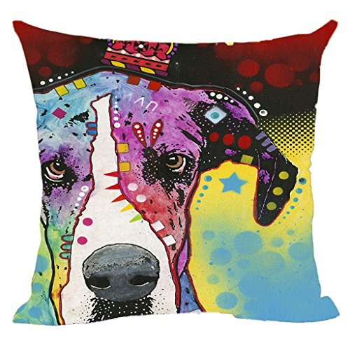 """CafeTime Cute Great Dane Pet Dog Cushion Cover Abstract Art Animal Throw Pillow Covers Best for Home Sofa Bed Seat Kids Room Customize Animals Canvas Pillow Covers 18""""x18""""Inch"""