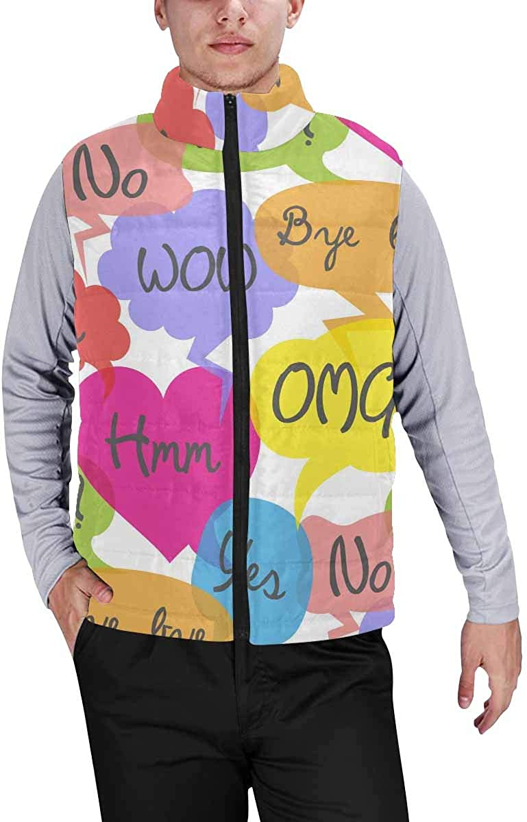 InterestPrint Men's Casual Sleeveless Coats with Personality Design Cartoon Space Ship