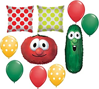 10 BALLOONS new VEGGIE TALES larry CUCUMBER bob TOMATOE party decor favors any occasion