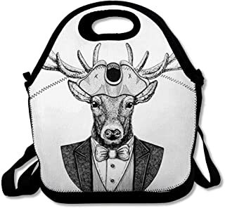 Insulated Lunch Bag for Women Men Brown Badge Deer Wearing Cocked Hat Tricorn Navy Black Boat Boss Bow Tie Design Captain Reusable Lunch tote for Work School Picnic