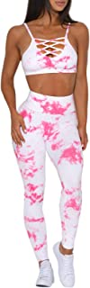 Aleumdr Women Tie Dye Workout Set Outfit High Waist Athletic Leggings and Sports Bra Set Gym Clothes