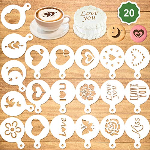 Konsait 20Pack Valentine's Day Cake Stencil Templates Decoration, Reusable Valentine Day Cake Cookies Baking Painting Mold Tools, for Decorating Dessert Coffee Oatmeal Cappuccino Mousse Hot Chocolate