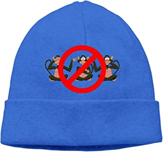Ghhpws Cute Monkey Hear See No Evil Beanie Wool Hats Knit Skull Caps Warm Winter Beanies for Men Women RoyalBlue