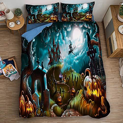 BLSM Halloween-Bettwäsche-Set mit passendem Kissenbezug, ultraweicher Mikrofaser-Steppbezug für Kinder und Erwachsene (13,135 x 200)