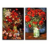 Famous Oil Painting Reproduction Replica Set of 2 Vase with Poppies Cornflowers Peonies and Chrysanthemums Red Poppies by Van Gogh ped - Canvas Art Wall Art - 16' x 24' x 2 Panels