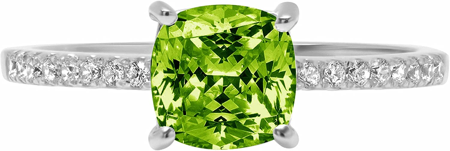 1.66ct Brilliant Cushion Cut Solitaire Accent Genuine Flawless Natural Green Peridot Gemstone Engagement Promise Anniversary Bridal Wedding Ring Solid 18K White Gold