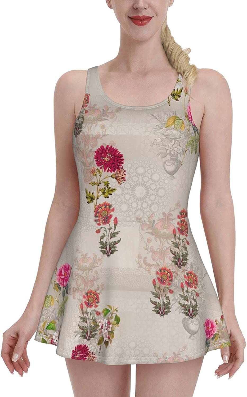 Vintage Multi Color Flower Floral Retro Swimdress Swimsuits for Women Tummy Control