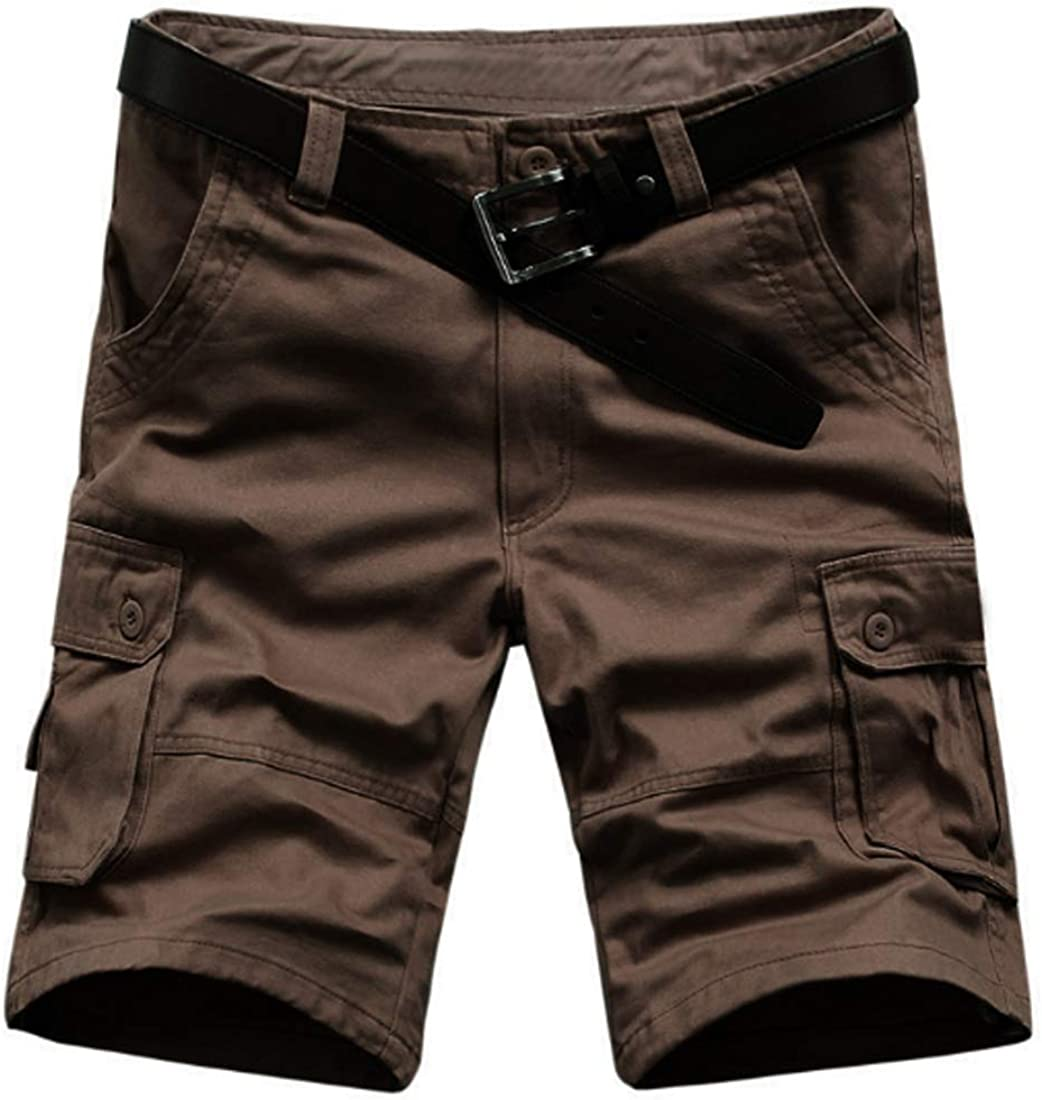 Fulision Men's Cotton Twill Cargo Shorts Outdoor Tactical Multi Pockets Breathable Comfortable Work Short