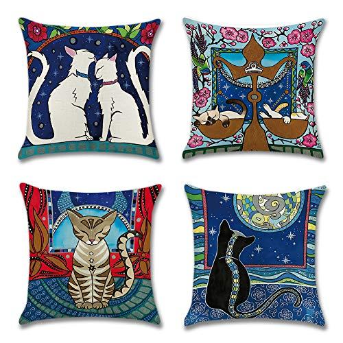 Artscope Housse de Coussin Decoration Canapé, Lot de 4 Polyester et Lin Décoratif Taie d'oreiller...