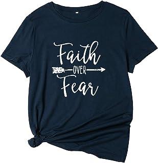 Mujer Camiseta Casual Manga Corta Verano Divertidas Flecha Faith Over Fear Tops t Shirt