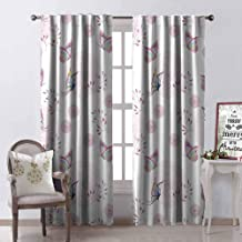 GloriaJohnson Butterfly 99% Blackout Curtains Butterflies and Branches Romantic Spring Retro Faith Optimism Change Fly Theme for Bedroom Kindergarten Living Room W52 x L84 Inch Pink White