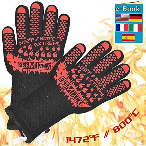 Amazing BBQ Gloves - 1472F Extreme Protection! Long Cuff and Ultra-Comfort Makes Grilling a Breeze! EN407-rated Kevlar Protection, Best Oven Mitts for Grilling, Baking, Charcoal (Large)