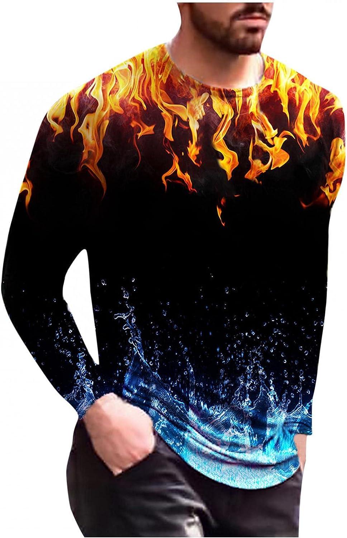 Aayomet Men's T Shirts Graffiti Printed Long Sleeve Round Neck Sweatshirts Casual Workout Sport Tee Shirts Blouses Tops