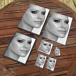 Avril Lavigne - Original Art Gift Set #js002 (Includes - A4 Canvas - A4 Print - Coaster - Fridge Magnet - Keyring - Mouse Mat - Sketch Card)