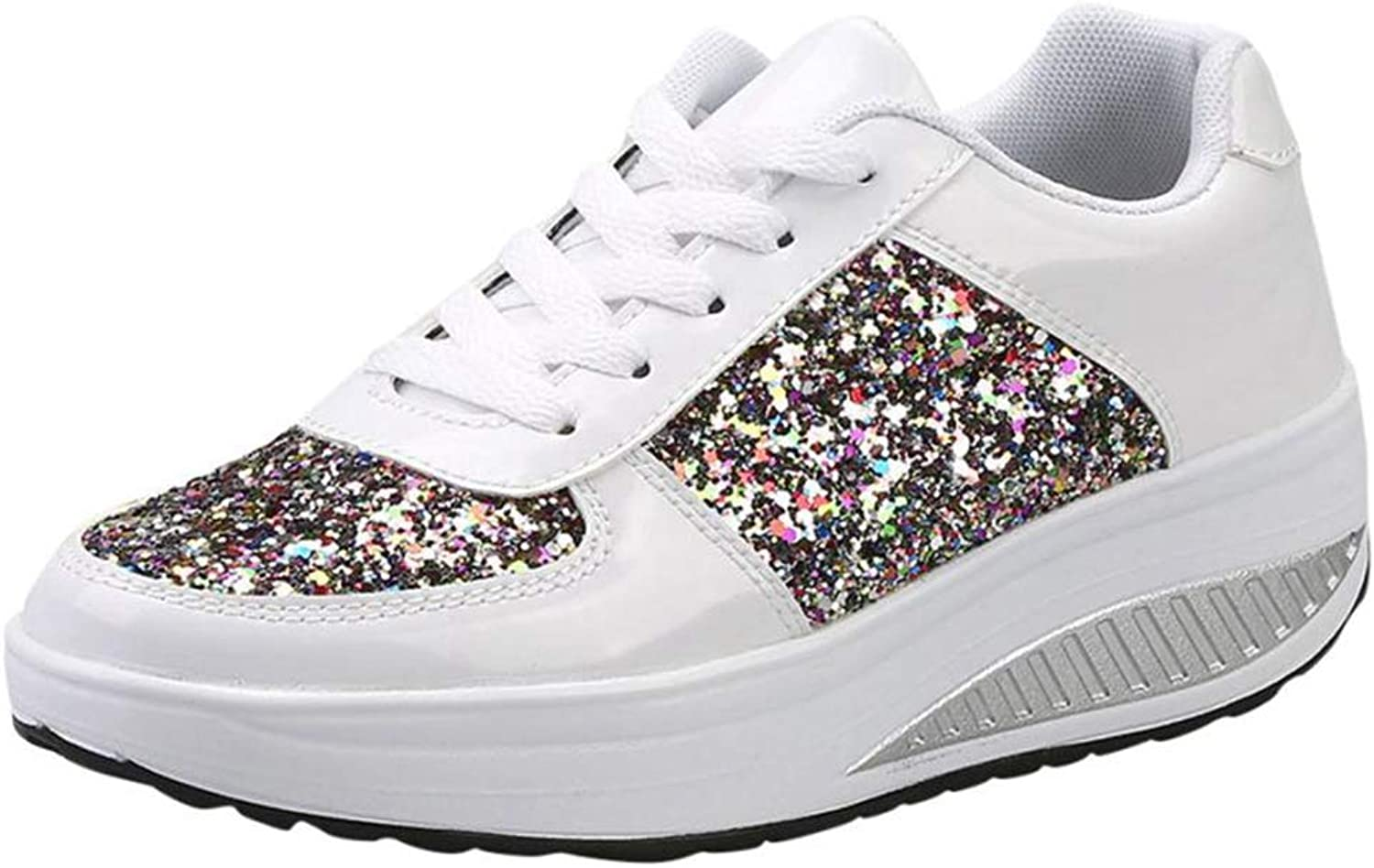 ASO-SLING Women's Vulcanize Wedges Sneakers Diamond Height Increasing Breathable Casual Lightweight Walking shoes
