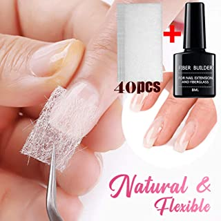 Fiberglass Silk Nail Wrap,Nail Extension Kit for Nail Enhancement,Nail Repair Gel, Nail Reinforce Builder Gel Kit,Nail Extension Sticker,UV Lamp Required,Professional Nail Art Accessories (8ml 40PCS)