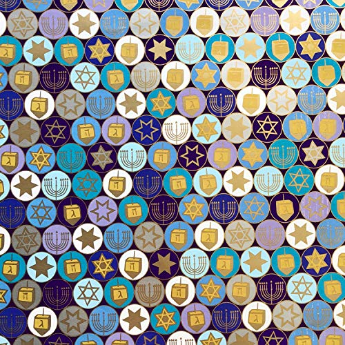Jillson & Roberts Hanukkah Gift Wrapping Paper, Gelt (8 Rolls 5 feet x 30 inches)