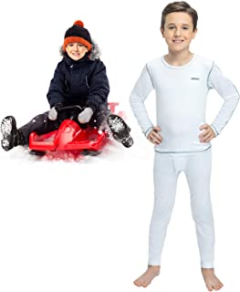 Sponsored Ad - Thermal Underwear for Boys (Thermal Long Johns) Sleeve Shirt & Pants Set, Base Layer w/Leggings Bottoms Sk...