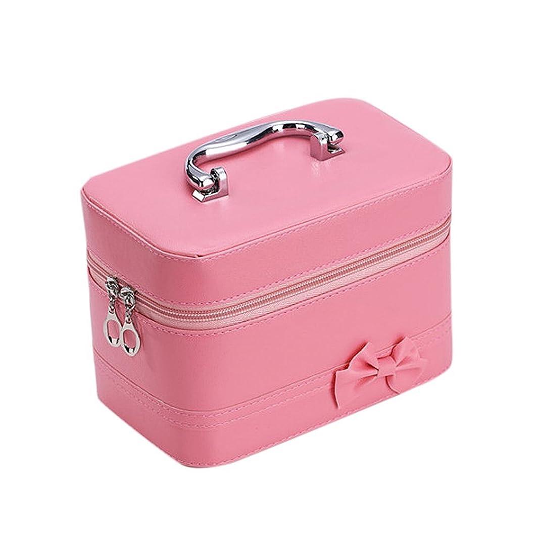 姿勢残基持続的DRASAWEE(JP)コスメボックス ファッション 大容量 可愛い 収納ケース 防水化粧バッグ 鏡付き ハンドバッグ ダブルファスナー ピンク