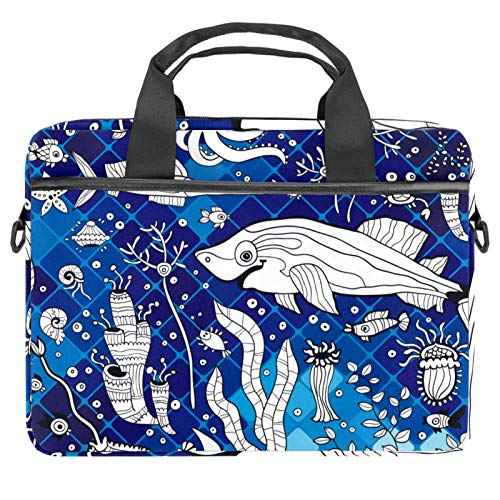 Laptop Bag Marine Shark Octopus Seaweed Geometric Notebook Sleeve with Handle 13.4-14.5 inches Carrying Shoulder Bag Briefcase