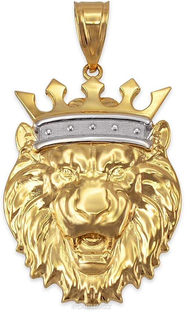 LA BLINGZ 14K Yellow Gold Lion King Pendant (S/M/L/XL)