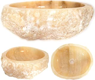 Rustotica Rustic Honey Onyx Carved Stone Vessel Sink - Unique & Rustic Bathroom Sink Made of Natural Yellow Honey Onyx