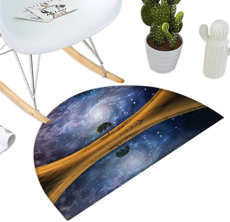 Space Semicircular Cushion Surreal Single Tree on Galaxy with Stars Meteors Unusual Sci Fi Panorama Print Halfmoon doormats H 39.3  xD 59  Brown Purple bluee