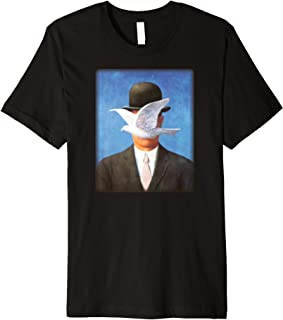 Son of Man by Rene Magritte with Flying Dove Blocking Face Premium T-Shirt