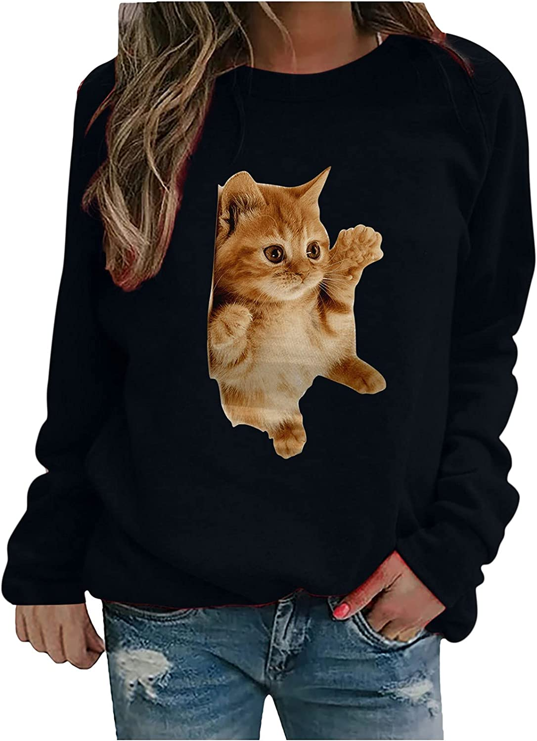 Women Tops Cute Cat Printed Crewneck Long Sleeve Casual Daily Tunic Pullover Comfy Soft Sweatshirts Blouses