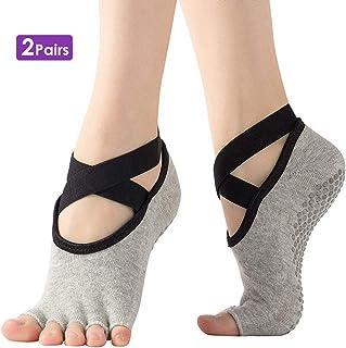 Conjuntos 3 Calcetines de algodón de cinco dedos para danza de ballet Pilates negro