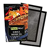 PhatMat Non Stick Grill Mesh Mats XL - Set of 2 - Nonstick Heavy Duty BBQ Grilling & Baking Accessories for Traeger, Recteq, Green Mountain, Smoker & Oven - 19 inches x 11 inches