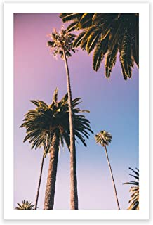 Humble Chic Wall Art Prints - Unframed HD Printed Modern Picture Poster Decorations for Home Decor Living Dining Bedroom Kitchen Bathroom Office Dorm Room - Sunset Palm Trees Ombre, 24x36 Vertical