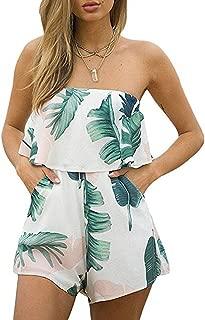DDSOL Women Sexy Off Shoulder Floral Printed Playsuit One Piece Summer Strapless Romper Beach Short Jumpsuit
