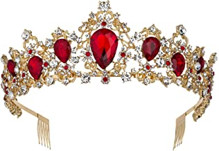 Sweet Princess Pink Crowns for Women Girls Crystal Rhinestone Queen Costume Party Festival Wedding Tiaras Headbands (Gold Red)