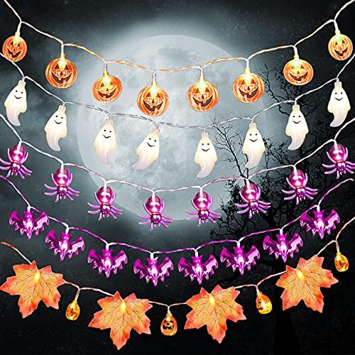 Herefun Luci Stringa Halloween, 7.5M 50LEDs Luci Decorative per Halloween, LED Luci da Fata a Forma di Zucca Fantasma Ragno, Fata Zucca Luce Della Stringa, Decorazioni per Feste Halloween