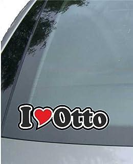 INDIGOS UG   Aufkleber/Autoaufkleber I Love Heart   Ich Liebe mit Herz 15 cm   I Love Otto   Auto LKW Truck   Sticker mit Namen vom Mann Frau Kind