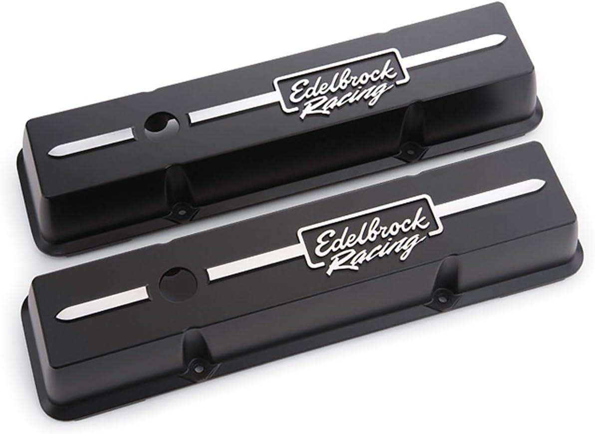 Edelbrock 41633 NEW before selling Valve Cover Kit Race Short SBC M Black High material Series