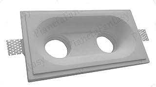 Rectangular Spotlight Holder in Ceramic Plaster with Flap PF9 lot of 50 Pieces + lamp Holder GU 10 for LED Bulbs