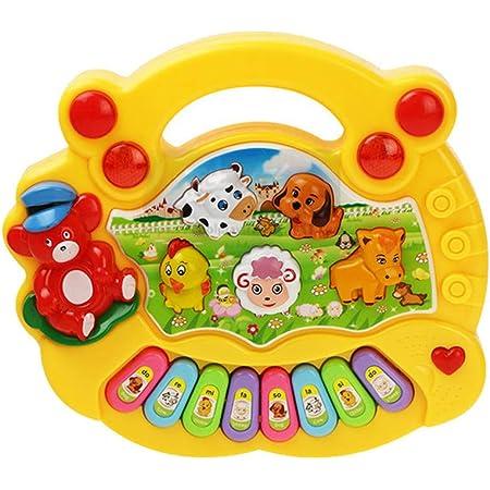 ZQO Jouets musicaux pour enfants, Mon Piano Rigolo Jouets, 4 en 1 Jouets pour bébé Table de Xylophone Multifonctions pour Filles Farm animale