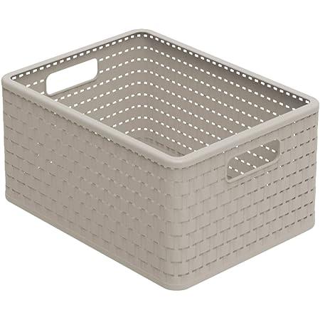 Rotho Country Boîte de rangement 18l en rotin, Plastique (PP) sans BPA, cappuccino, A4/18l (36.8 x 27.8 x 19.1 cm)