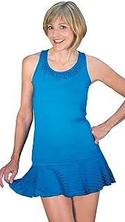 Peachy Tan Marissa Balesin Racerback in Turquoise Striped Mesh